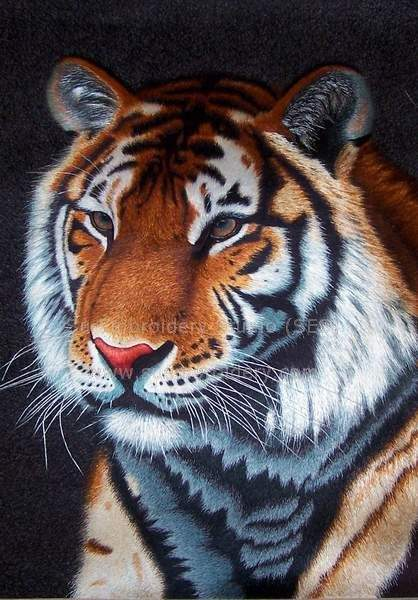 silk embroidery tiger
