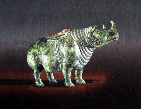 silk embroidery bronze rhino