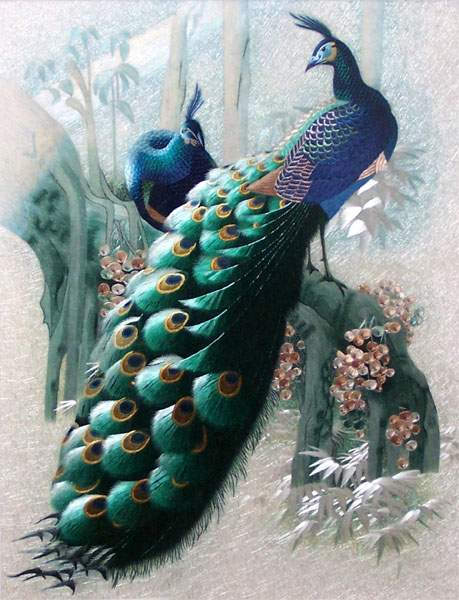 high quality peacocks silk embroidery