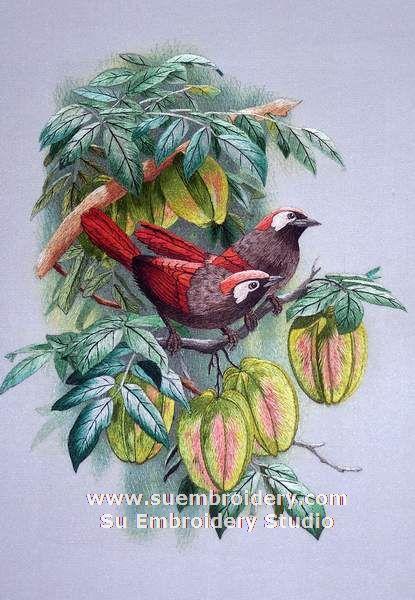 silk embroidery bird