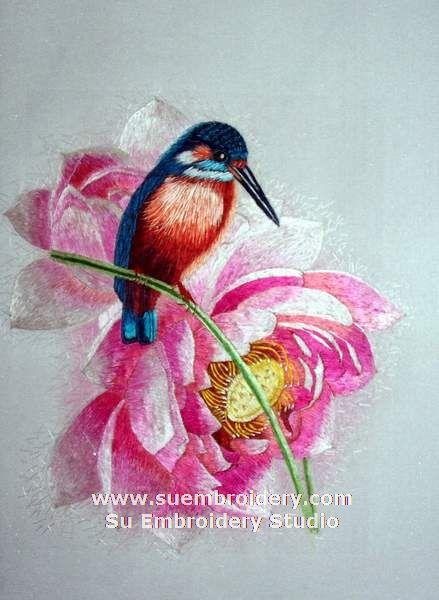 silk embroidered bird