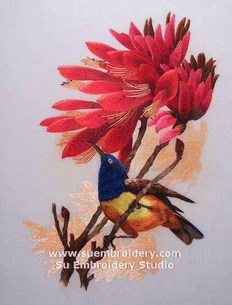 hand embroidered bird