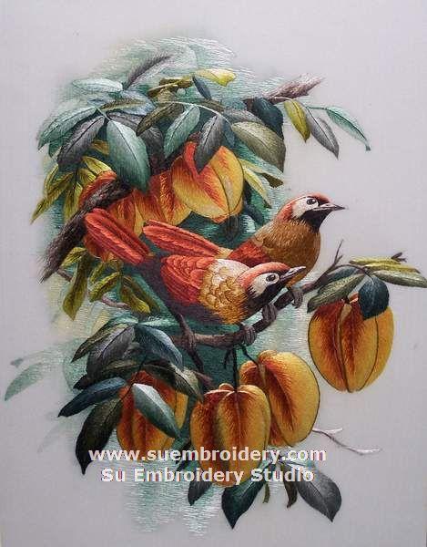 embroidered silk bird