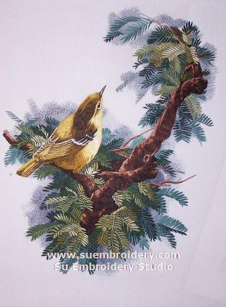embroidery bird painting