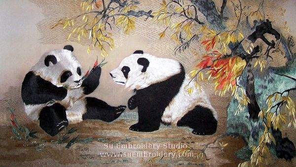 hand embroidery panda painting