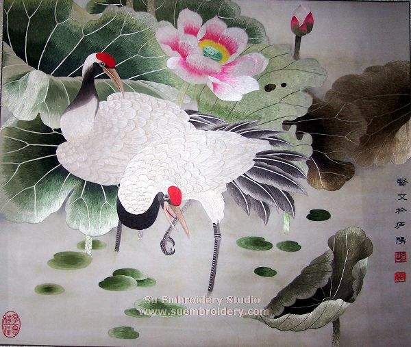 hand embroidered crane painting
