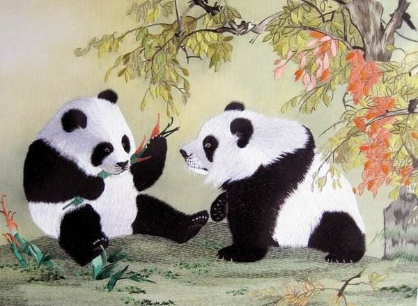 silk embroidered panda painting
