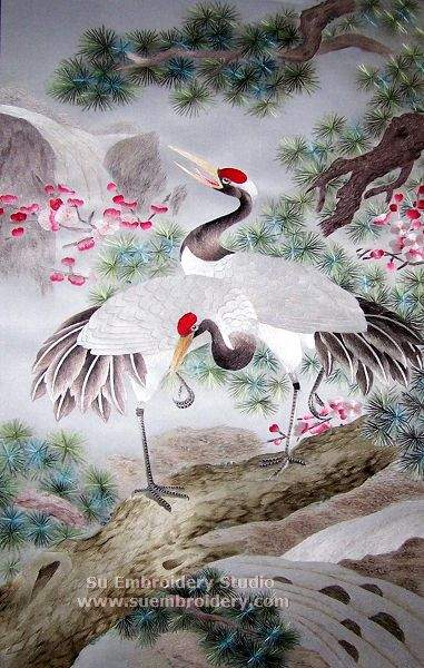 crane and pine tree silk embroidery