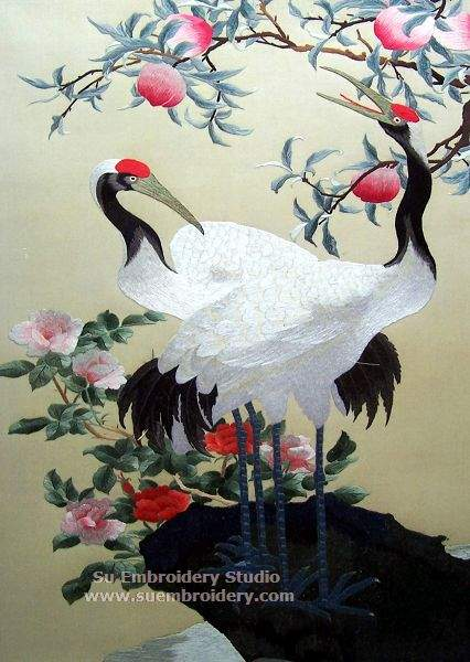 silk embroidery cranes
