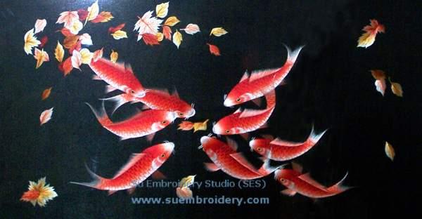 silk embroidery chinese carp