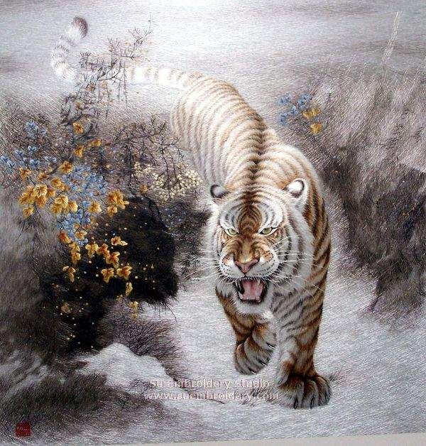 silk embroidered tiger