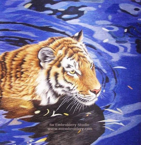 hand embroidered tiger painting