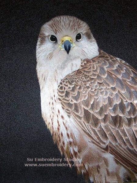 silk hand embroidered Falcon