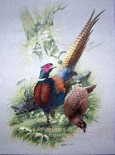 chinese embroidery pheasant