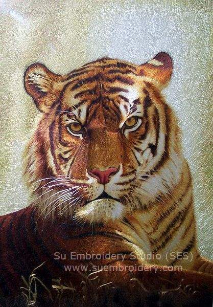 hand embroidery tiger