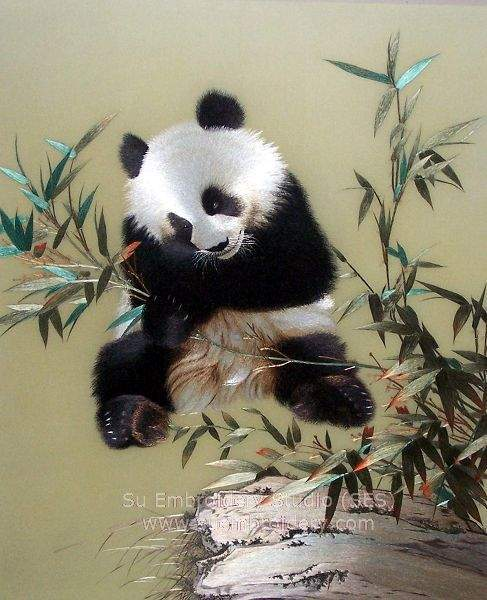 silk embroidery panda