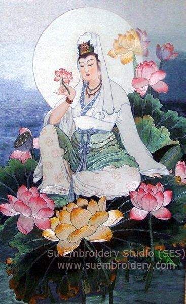 guan yin Chinese embroidery