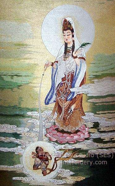 Kwan yin silk embroidery