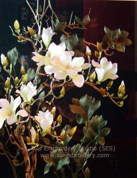 silk embroidery magnolia