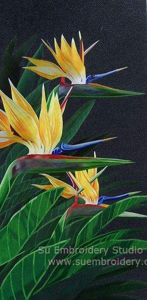 chinese embroidery bird of paradise flower