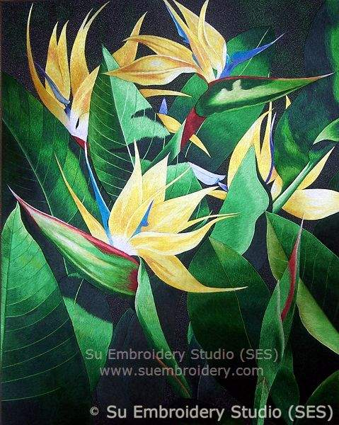 Silk embroidery bird of paradise flower embroidery blog of su hand embroidered with silk threads mightylinksfo