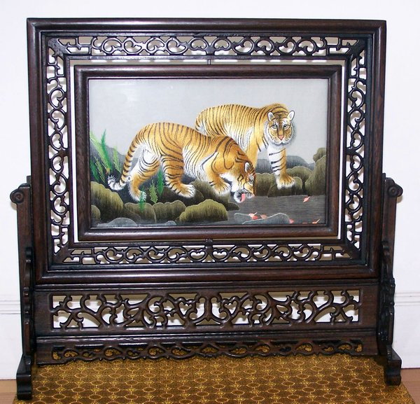 double sides embroidery tiger leopard