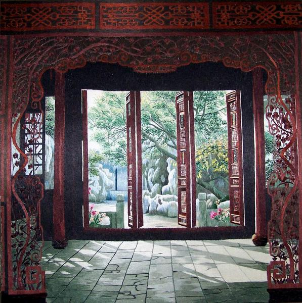 carved gate silk embroidery