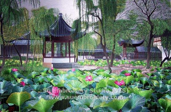 suzhou garden painting, hand embroidered
