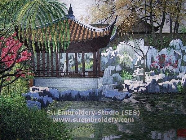 suzhou garden, hand embroidered