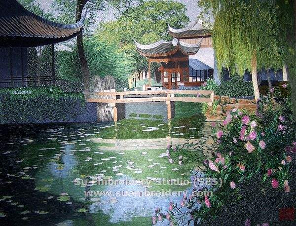 suzhou garden painting, silk embroidery