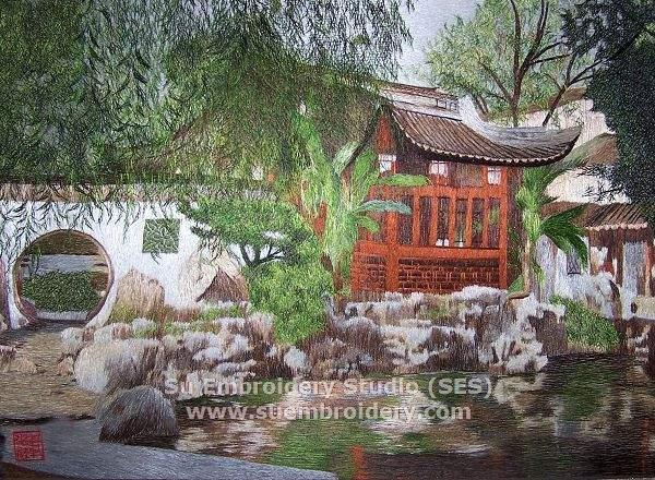 suzhou garden, silk art painting