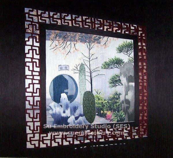 carved windown in Suzhou garden