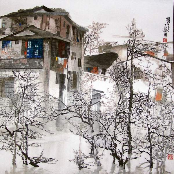chinese embroidery painting, suzhou water town