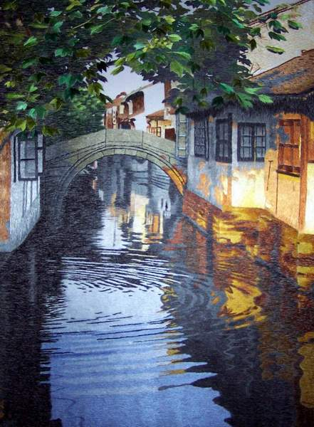 water town embroidery painting