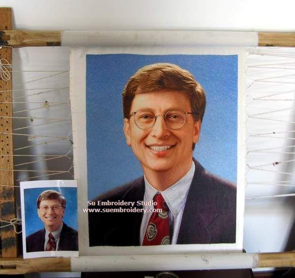 silk embroidery portrait bill gates