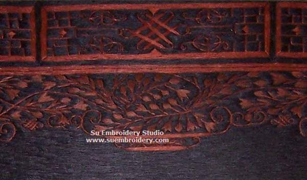 detail of caved gate silk embroidery