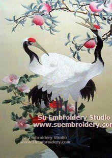 silk embroidery crane