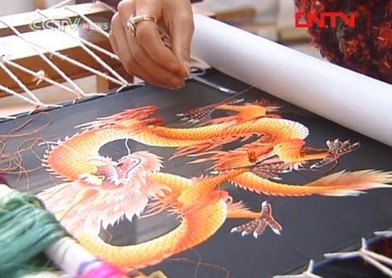 silk embroidery dragon