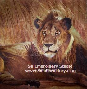 silk embroidery lion