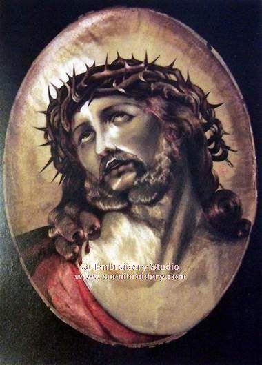 jesus portrait embroidered silk