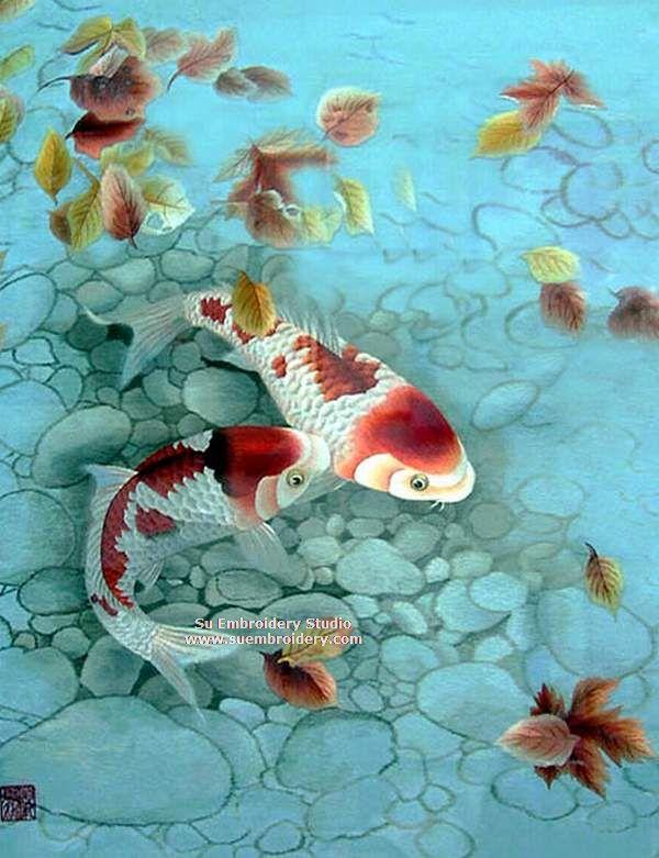 two koi carps silk embroidery