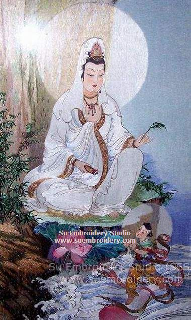 kwan yin silk embroidery