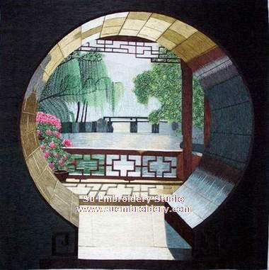 Moon Gate silk embroidery