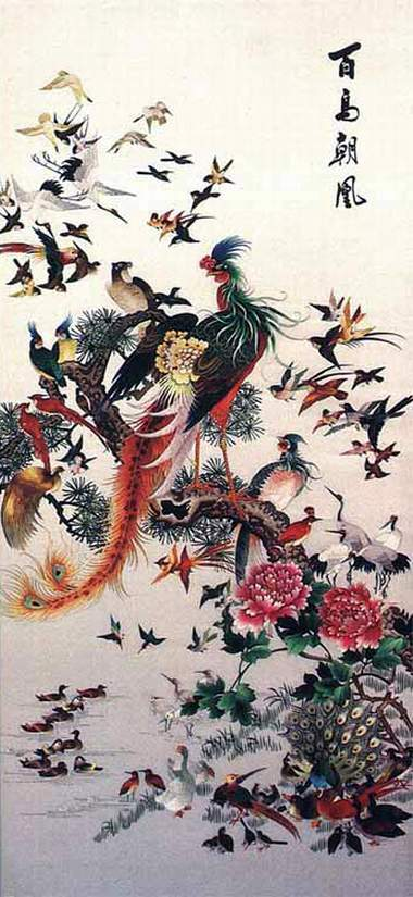 one hundred bird embroidery