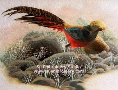 embroidery pheasant bird