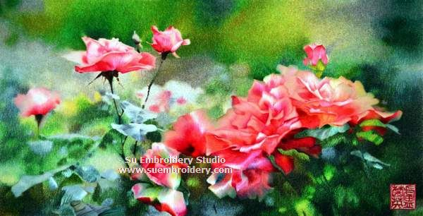 red rose silk embroidery