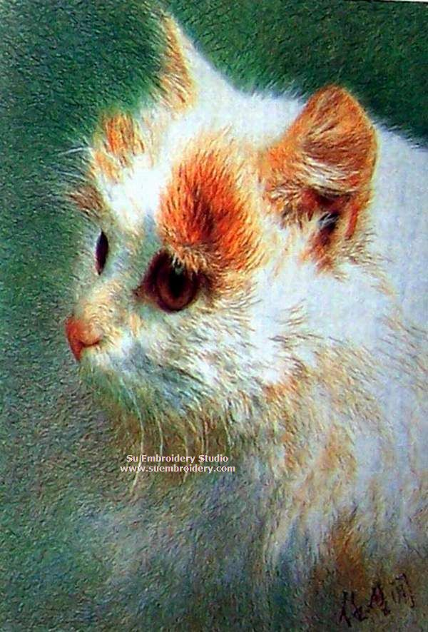 cat silk embroidery