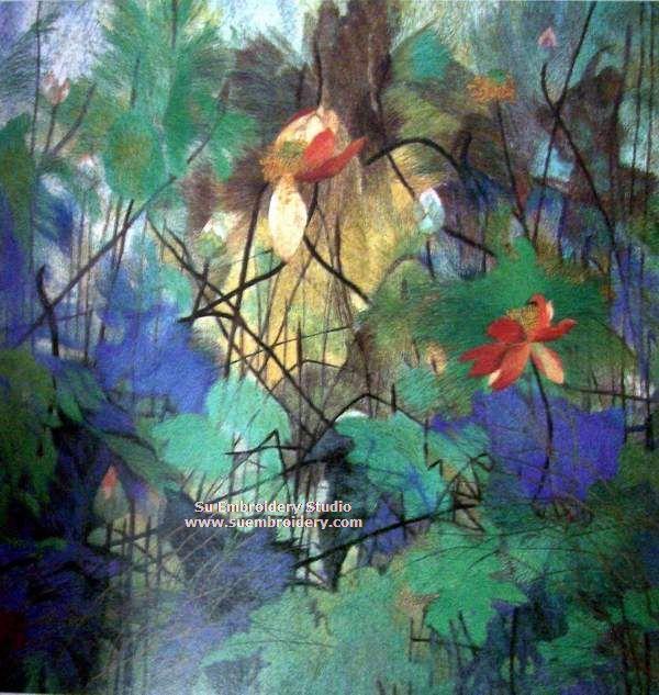 lotus fower silk embroidery