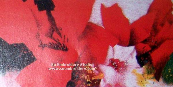 Red Fowers silk  embroidery