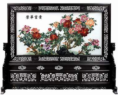 silk embroidery floor screen